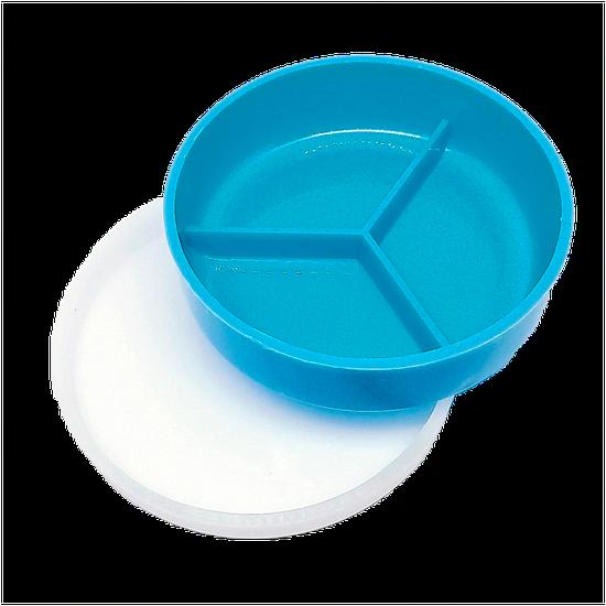 Placa de Petri Plástica c/ 3 Divisórias - Tampa Cristal (10 X 2,5cm)