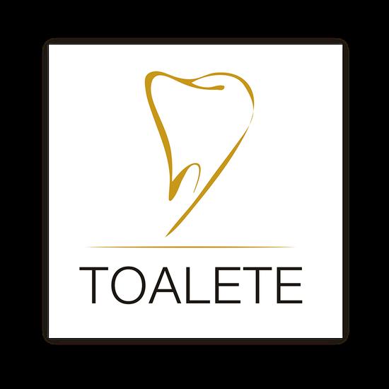 Placa p/ Consultório - Toalete Peq. - Dente Elegance