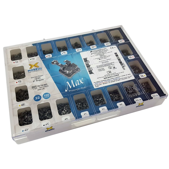Kit Bráquete Metálico Roth Max 0,022' 100 Casos - Can Sup Ang 9° c/ Gancho Caninos Pré-Mol 10.15.923