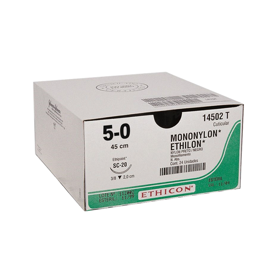 Fio de Sutura Mononylon 5-0 Ag 1,7 cm